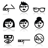 Google glass vector icons set