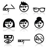 Google glass vector icons set