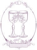 Wedding glasses in frame