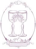 Wedding glasses in frame