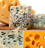 Collage of blue cheese and other cheeses