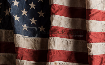 American flag old and worn
