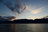 Maggiore lake, sunset from lakefront of Luino
