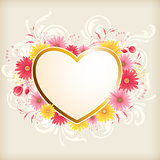 Heart and pink flowers
