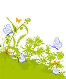 Green floral background with blue butterflies