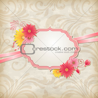 Background with label and flowers