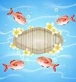 Blue summer background with fish