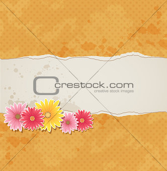 Background with flowers and torn paper