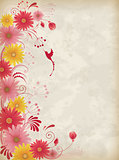 Background with red and yellow flowers