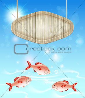 Background with wooden label and fish