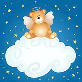 Teddy bear angel baby cloud background