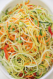 vegetable noodles closeup vertical
