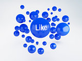 bubble of blue like icon. Social network concept