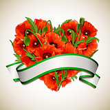 Flower heart of red poppies