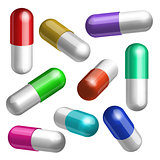Set of colorful medical capsules