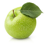 Green apple with leaf isolated on a white