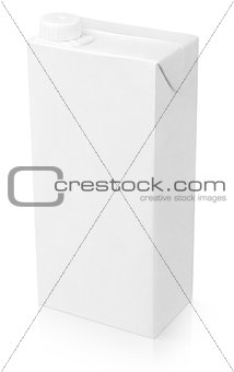 Blank white carton package of juice