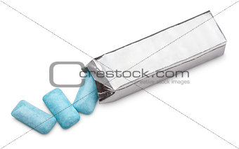 Blue chewing gum package isolated on white