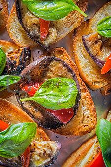 Aubergine bruschetta