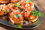Close-up tomato bruschetta