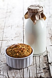 bottle of milk and fresh baked bread