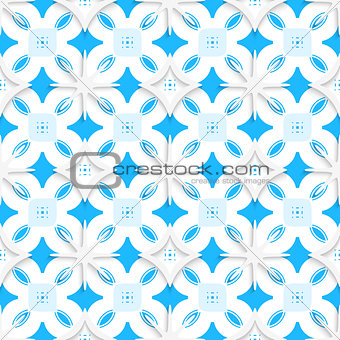 Blue ornament and white snowflakes seamless