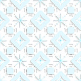 Blue snowflakes on top perforated rectangles seamless
