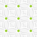 Geometric white pattern with green dots