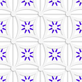 Geometric white pattern with layered purple flowers