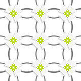 Gray ornament net green flowers and white crosses