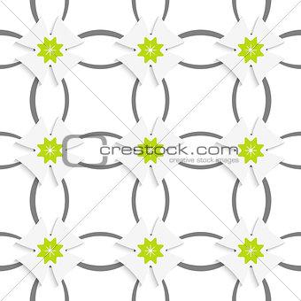 Gray ornament net green flowers and white crosses