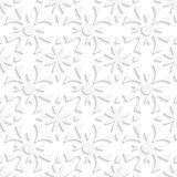Simple geometrical white repainting flowers seamless