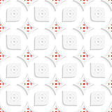 White and red geometrical perforated leaves and rhombuses seamle