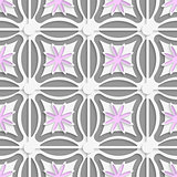 White dots and pink flowers cut out o paper