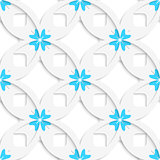 White geometrical flowers and squares layered seamless