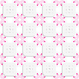 White geometrical perforated leaves and pink flowers seamless