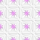 White net and pink flowers cut out o paper