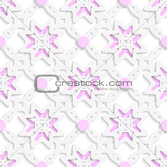 White perforated ornament layered with pink dots seamless