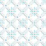 White perforated ornament with blue snowflakes seamless