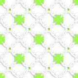 White perforated ornament with green crosses seamless