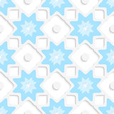 White snowflakes and dots with blue top seamless