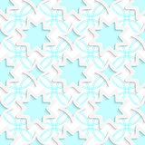 White snowflakes and white rhombuses on flat blue ornament seaml