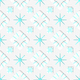 White snowflakes on blue flat ornament seamless