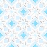 White snowflakes on flat blue ornament seamless