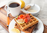 Potato waffles with salted salmon