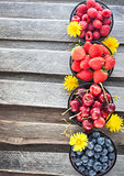 Fresh cherry, strawberry, blueberry and raspberry