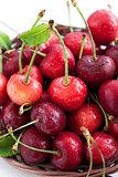 Fresh wet cherry in a basket