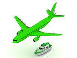 White turbo passenger airliner gains altitude