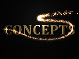 CONCEPTS- 3d inscription with luminous line with spark