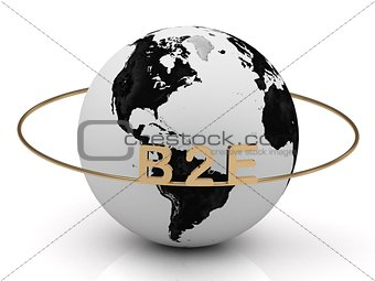 B2E golden letters on a gold ring around the earth